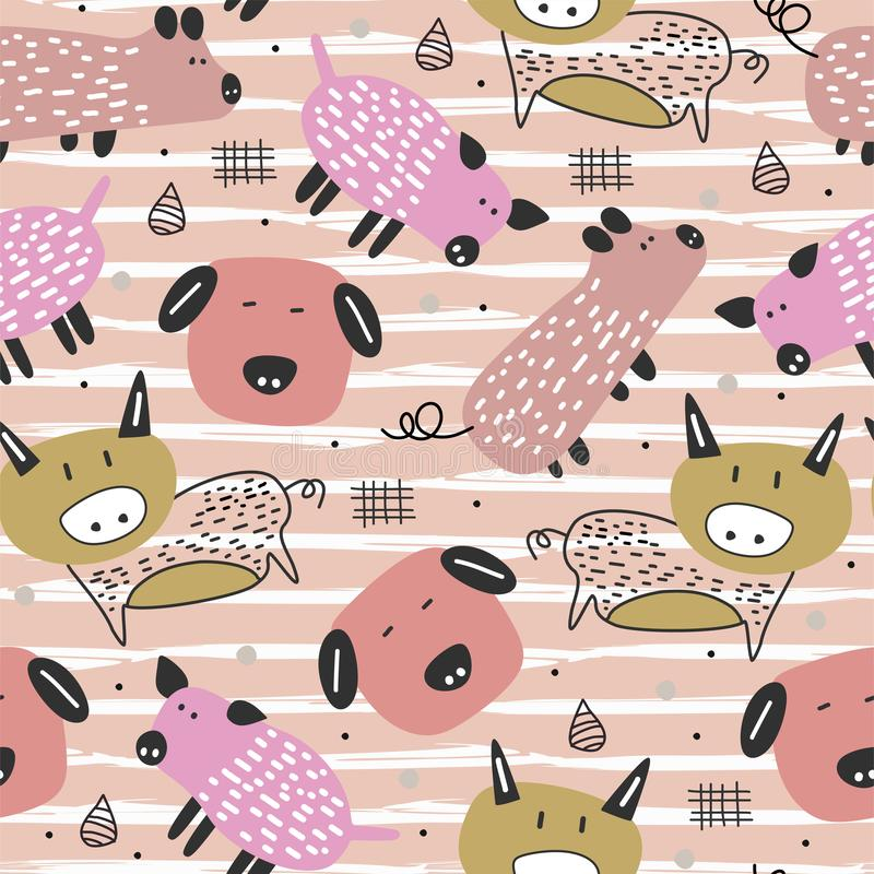 Pig seamless pattern drawing with cute animal cartoon childish hand drawn vector illustration scandinavian style. Decoration, texture, background, pink, funny vector illustration