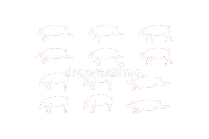 Pig set doodle icons for 2019 year isolated on white background. Flat vector background EPS 10 vector illustration