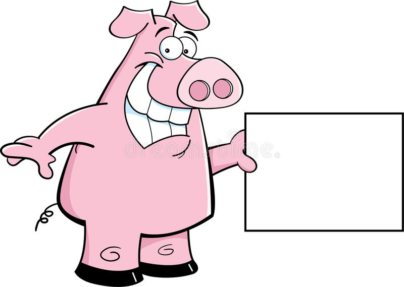 Download Pig with a sign stock vector. Image of happy, cartoon - 26165359