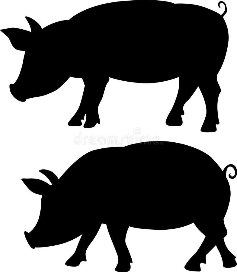 Pig silhouette - black vector illustration royalty free illustration