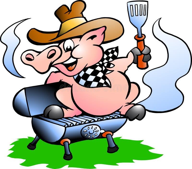 Pig sitting on a BBQ barrel. Handdrawn vector illustration af an BBQ Pig