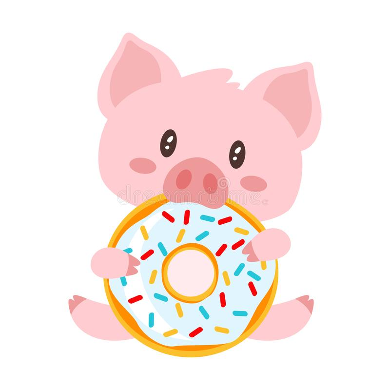 Pig sitting and eating doughnut. Vector cartoon style illustration of cute pink pig sitting and eating tasty doughnut. Isolated on white background royalty free illustration
