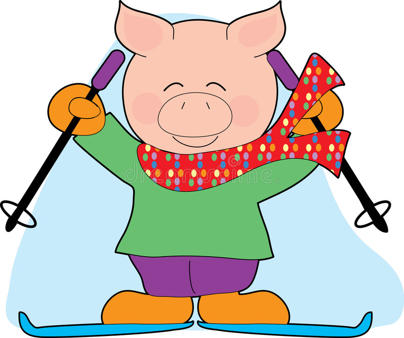 Pig Skiing. A Pig with Skis and Poles wearing a Scarf royalty free illustration
