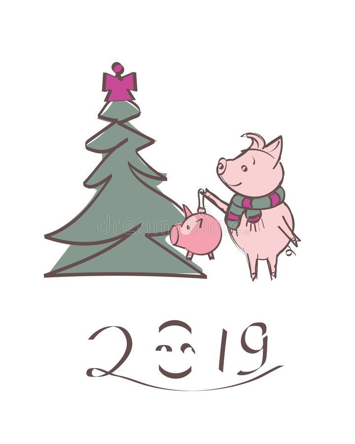 Pig in a striped scarf, near the tree. Happy new year - lettering quote. Christmas card, poster, t-shirt composition, hand drawn s stock illustration