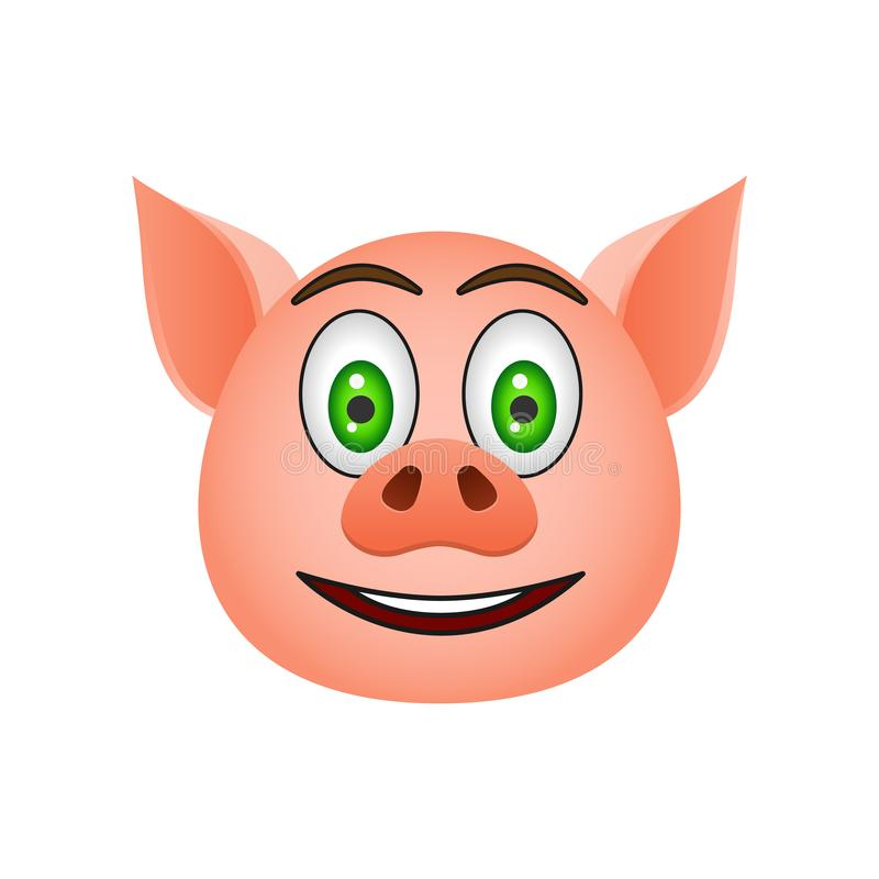 Pig in surprised, smile emoji icon. Element of new year symbol icon for mobile concept and web apps. Detailed Pig in surprised, sm royalty free illustration