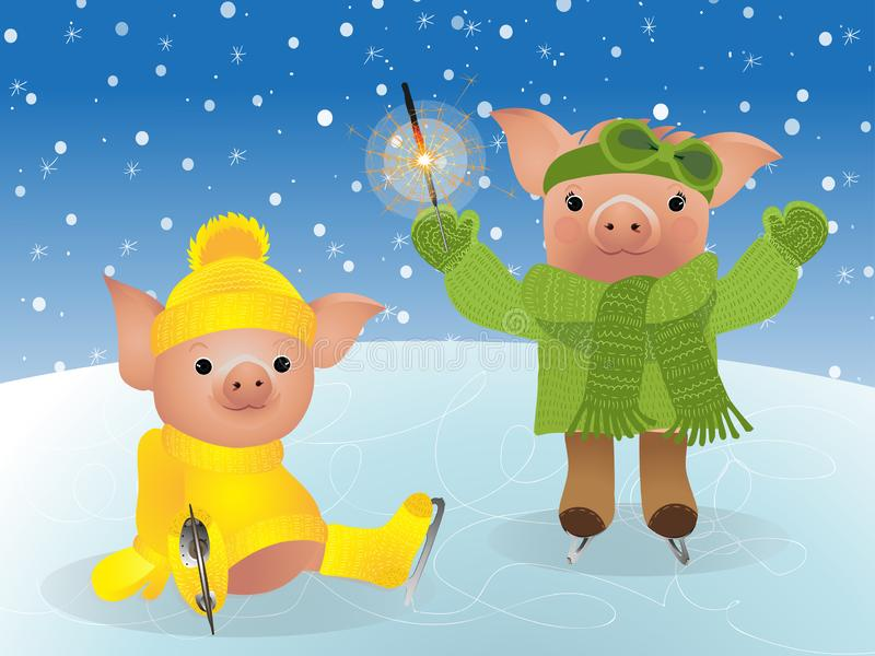 Pig in sweater on skates. 2019 Chinese New Year of the Pig. Christmas greeting card vector illustration