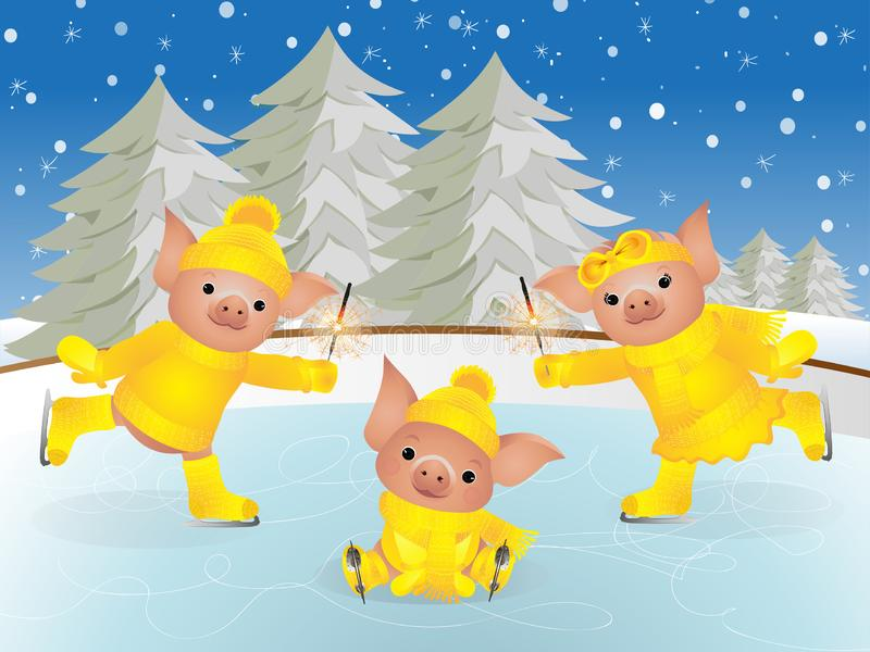 Pig in sweater on skates. 2019 Chinese New Year of the Pig. Christmas greeting card stock illustration