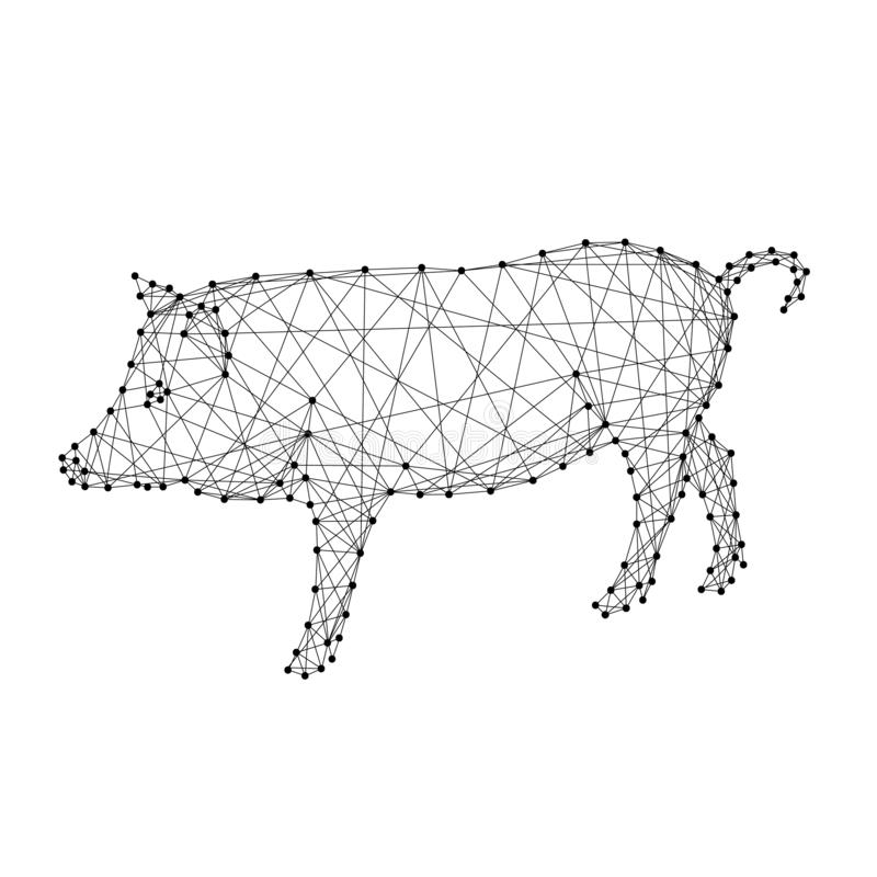 Pig is a symbol of the new year 2019 from abstract futuristic polygonal black lines and dots. Vector illustration vector illustration