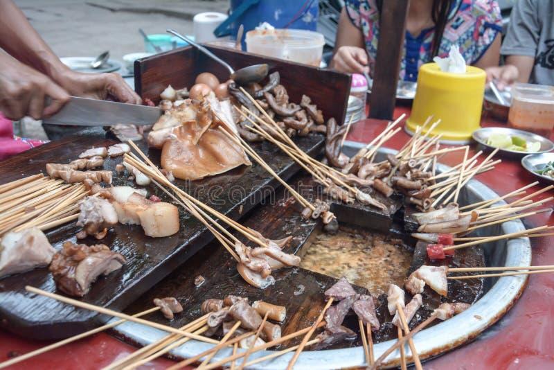 Pig tail- Myanmar street food in Burma royalty free stock photos