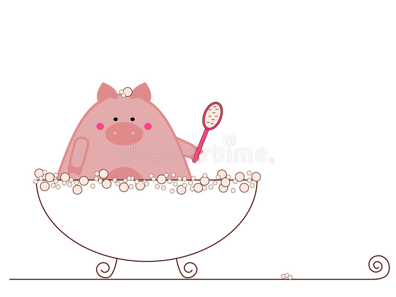 Pig taking bath vector illustration