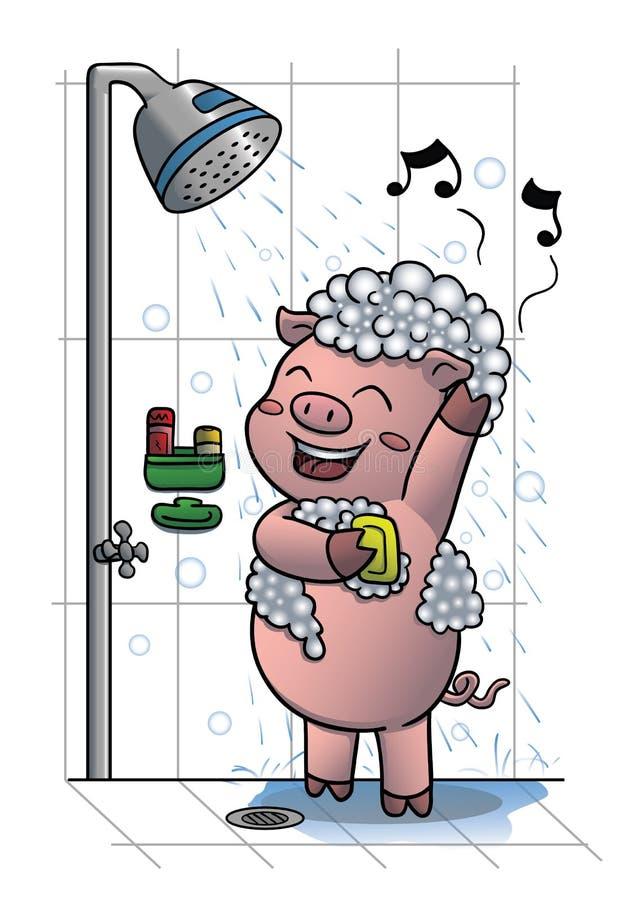 Pig taking shower. Vector illustration of a cute pig taking shower stock illustration