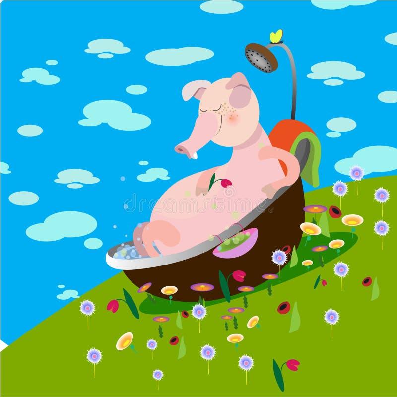 Pig vector animation vector illustration summer bathroom water flowers royalty free illustration