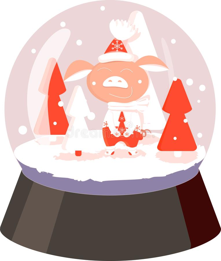 Pig white and red snowball with tree, snowflakes on white background royalty free illustration