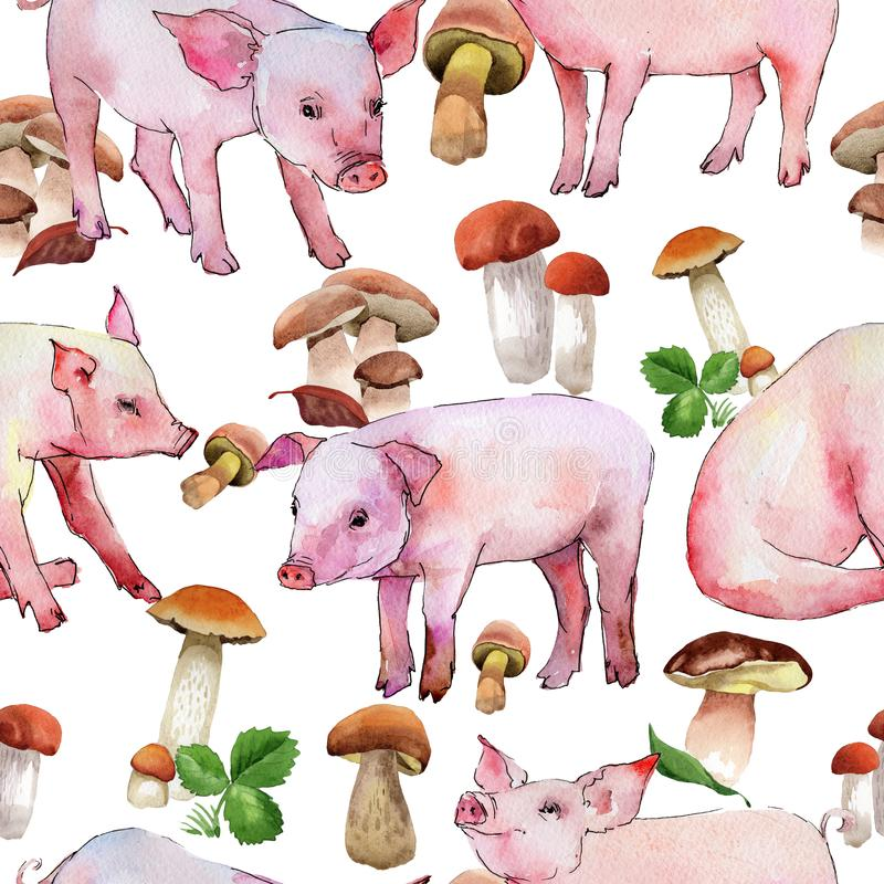 Pig wild animal pattern in a watercolor style. Full name of the animal: piggy. Aquarelle wild animal for background, texture, wrapper pattern or tattoo stock illustration
