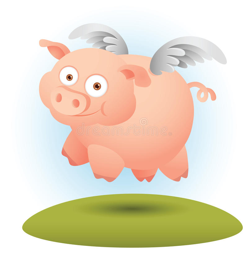 Download Pig with wing stock vector. Image of cute, happy, flying - 19881111