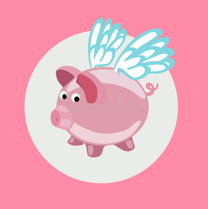 pig with wings flying flat design vector royalty free illustration