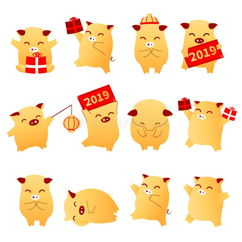 2019 Pig Year flat cartoon characters traditional oriental chinese zodiac sign pigs set.Chinese lanterns,Funny asian mascot charac stock illustration