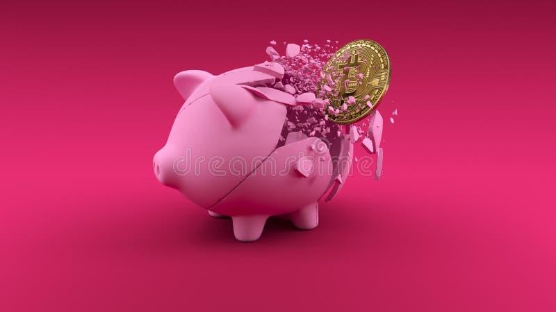Pigbabnk на розовой предпосылке Знамя концепции обменом Cryptocurrency иллюстрация вектора