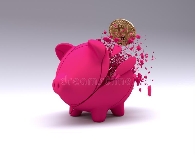 Pigbabnk machacado en el fondo blanco Bandera del concepto del intercambio de Cryptocurrency Bitcoin del oro ilustración del vector