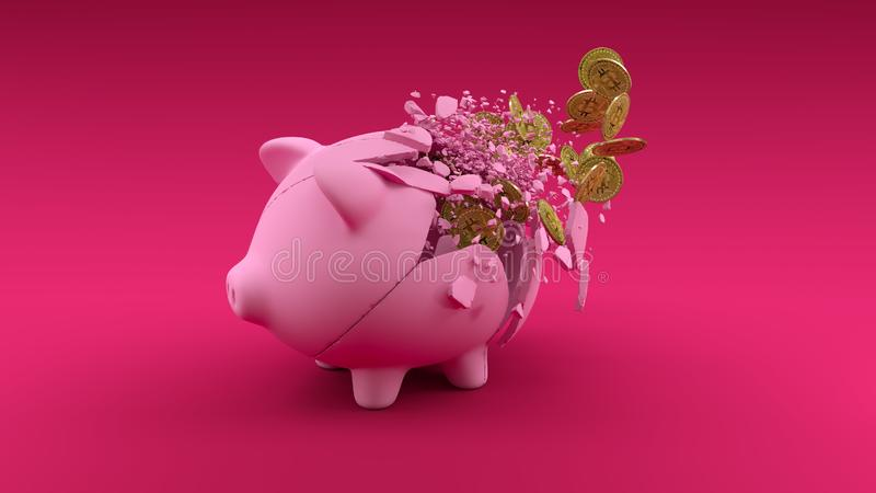 Pigbabnk machacado en fondo rosado Bandera del concepto del intercambio de Cryptocurrency Moneda de oro ilustración del vector