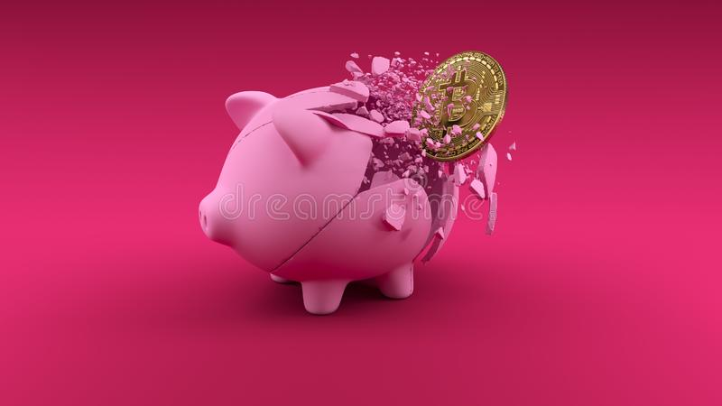 Pigbabnk on pink background. Cryptocurrency exchange concept banner. 3d Stock exchange. Gold coin vector illustration