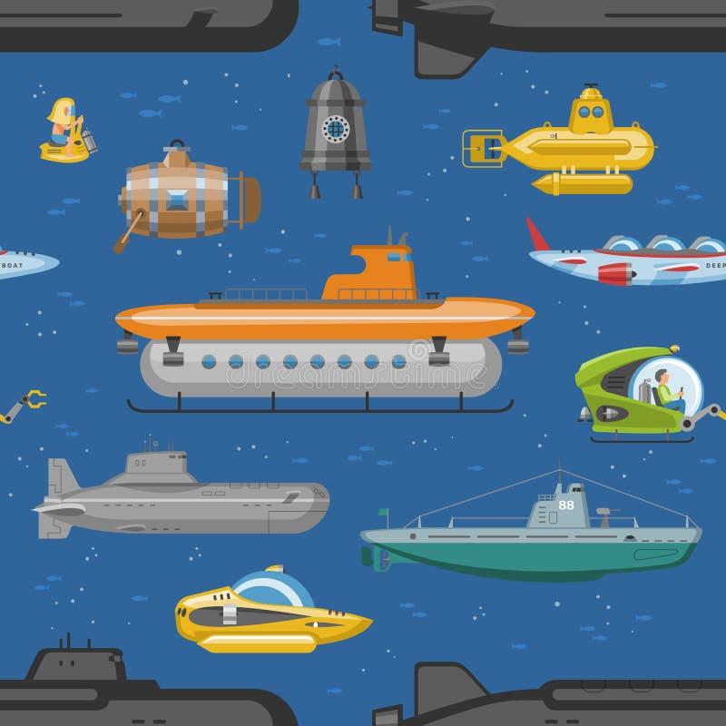 Pigboat submersible de mer de vecteur ou bateaux et bateaux de transport jaunes d'eau du fond et de bateau de voilier marin dans  illustration stock
