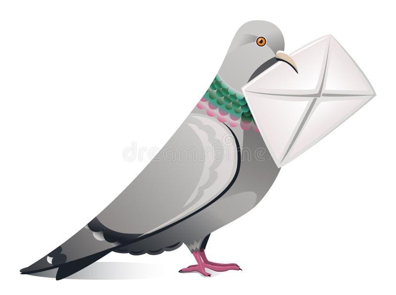 Pigeon avec la lettre illustration de vecteur