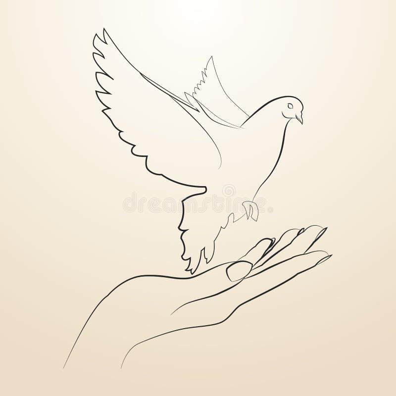 Pigeon du vol de paix du croquis ouvert de mains dans les lignes noires illustration stock