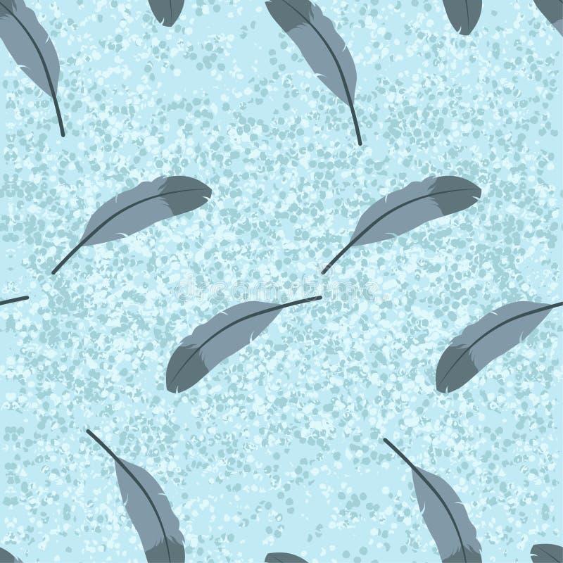 Pigeon feathers blue abstract cartoon texture background vector seamless pattern editable illustration stock illustration