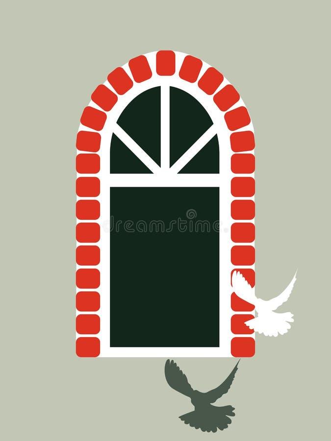 Pigeon flies in the window stock illustration