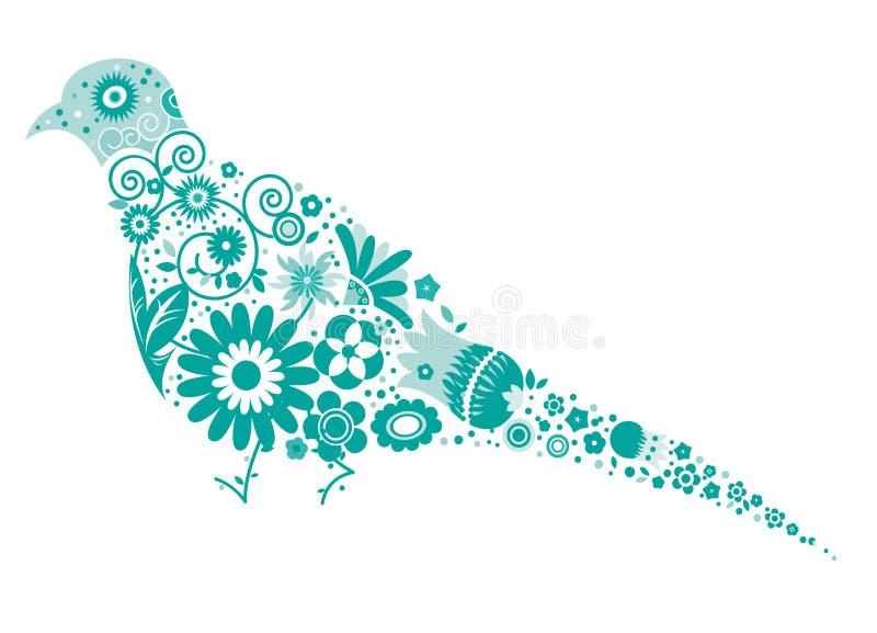 Pigeon floral illustration stock