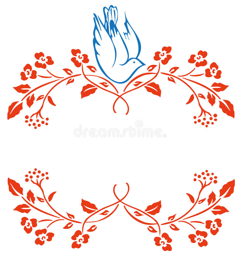 Pigeon And Flower Pattern Royalty Free Stock Image