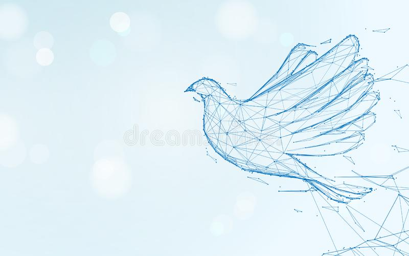 Pigeon flying form lines, triangles and particle style design royalty free illustration