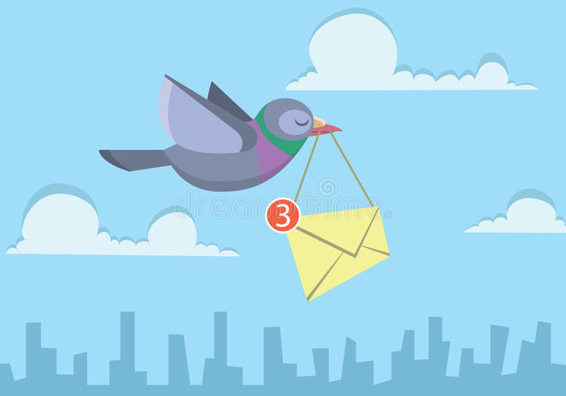 Pigeon flying over the sky holding envelope sending business email stock illustration