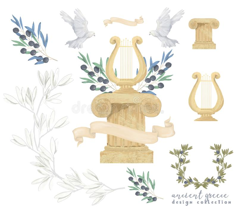 Pigeon and olive Antique Post set clip art digital drawing watercolor bird fly peace dove, harp and colonum on white background stock illustration
