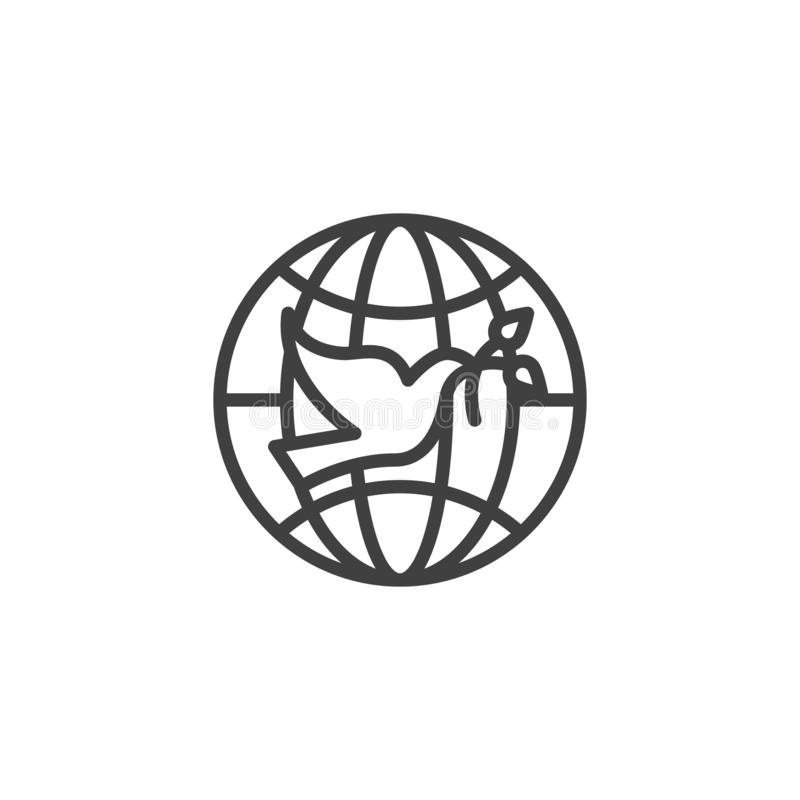 Pigeon with olive branch and world globe line icon royalty free illustration