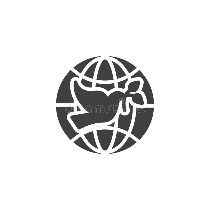 Pigeon with olive branch and world globe vector icon royalty free illustration