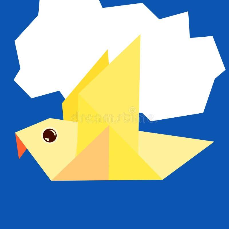 Pigeon, origami, volant contre un nuage de papier illustration stock