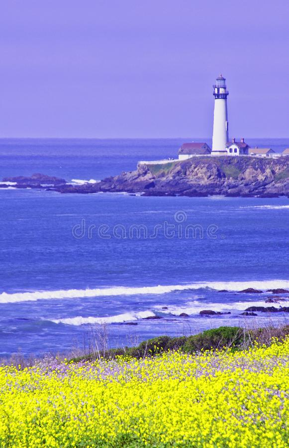 Pigeon Point Light House. Pigeon Point lighthouse with blue ocean and surf with wild mustard in the foreground stock photography