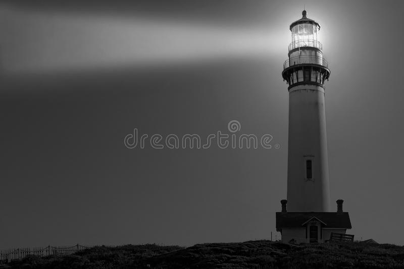 Pigeon Point Lighthouse in Black and White. The lighthouse at Pigeon Point on the Central Coast of San Mateo, California, USA stock photography