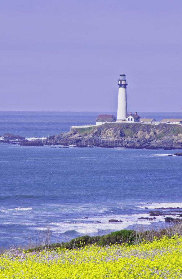 Pigeon Point Light House. Pigeon Point lighthouse with blue ocean and surf with wild mustard in the foreground stock photos
