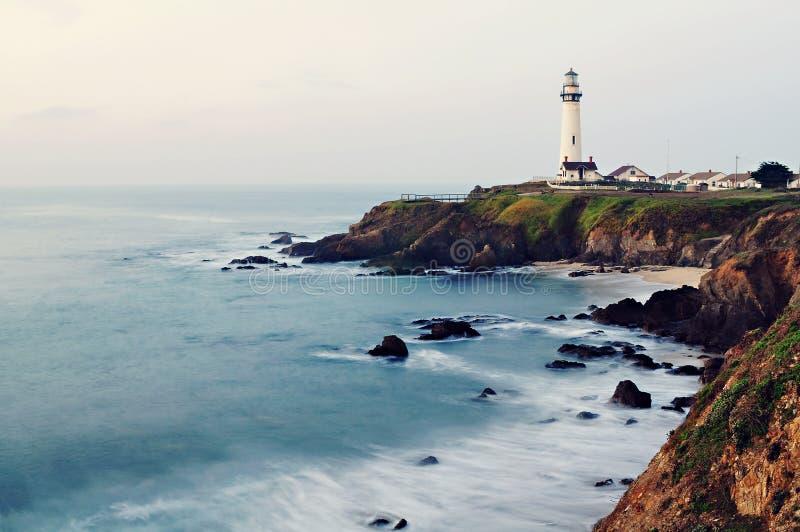 Pigeon Point Lighthouse on California's Pacific Coast Highway. Pigeon Point Lighthouse alongside California's Pacific Coast Highway royalty free stock photos