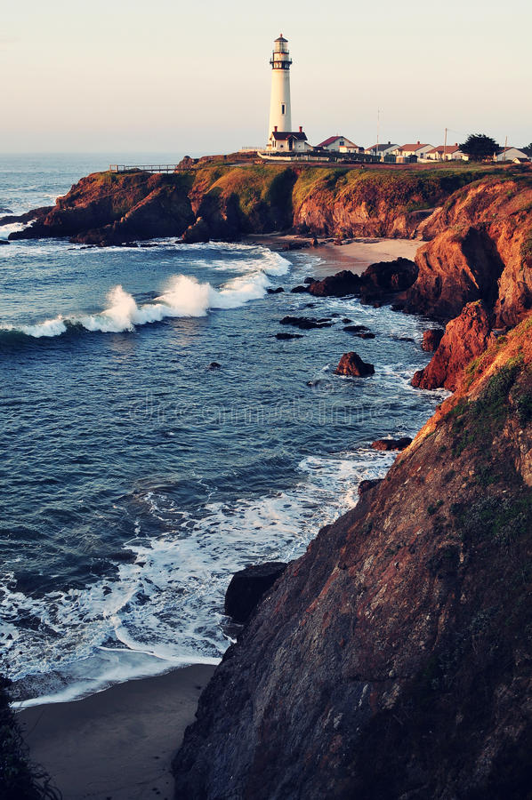 Pigeon Point Lighthouse on California's Pacific Coast Highway. Pigeon Point Lighthouse alongside California's Pacific Coast Highway royalty free stock photography