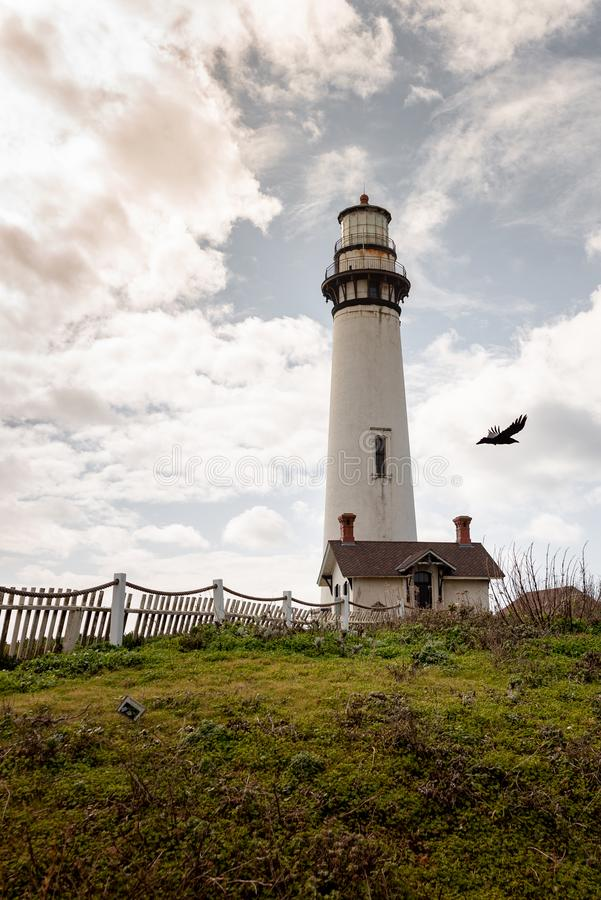 Pigeon Point Lighthouse is a lighthouse built in 1871 to guide ships on the Pacific coast of California. royalty free stock photo