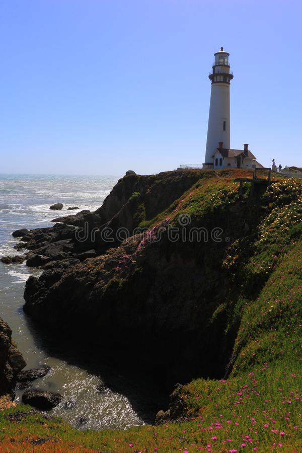 Pigeon Point Lighthouse on Rocky Headland on the Pacific Coast, California, USA stock photography