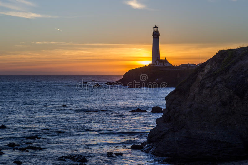 Pigeon Point Lighthouse in sunset royalty free stock photo