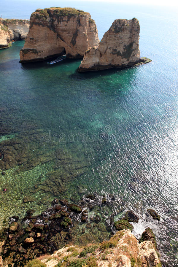 Download Pigeon Rocks in Beirut stock photo. Image of rocky, marine - 30682396