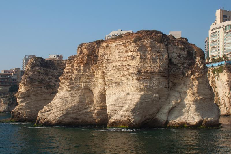 Pigeon Rocks in Raouche District, Beirut, Lebanon. View from the sea stock photography