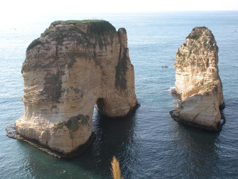 Pigeon Rocks (Rocks of Raouché), Beirut, Lebanon royalty free stock photography