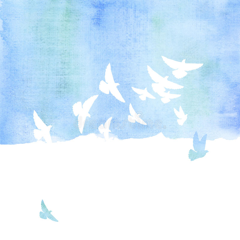 Pigeon in the sky watercolor stock illustration